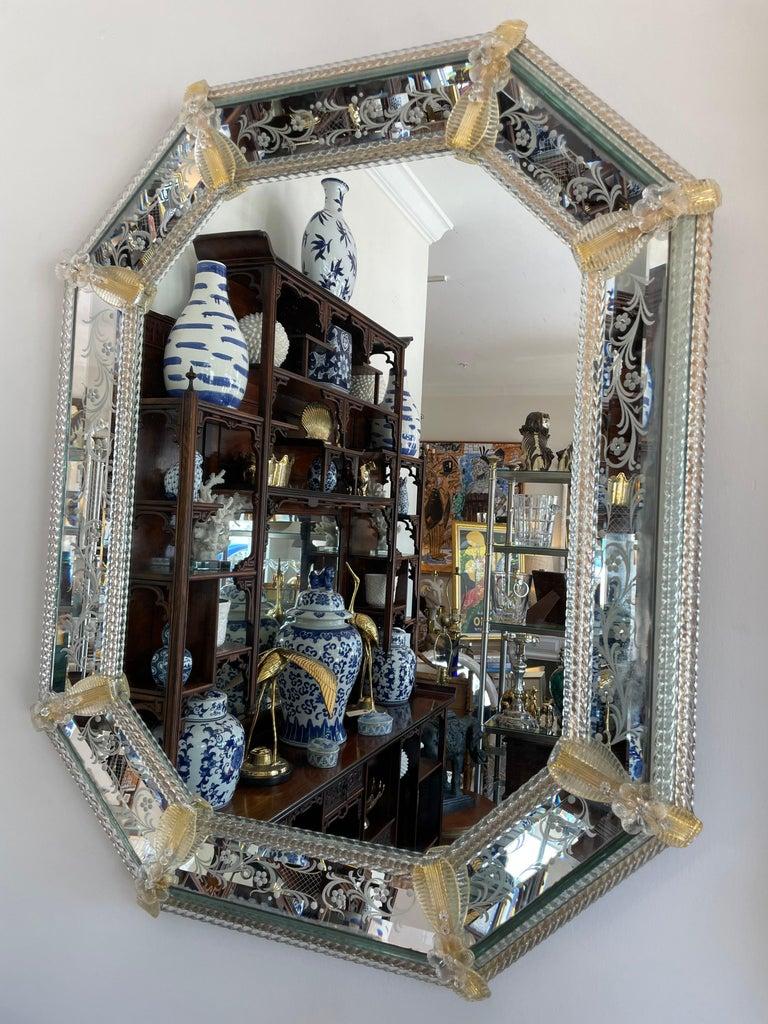 Pair of octagon shaped vintage Venetian Murano mirrors.