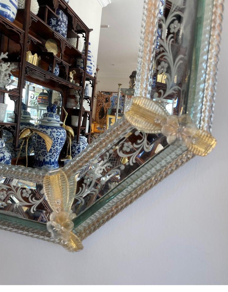Italian Pair of Venetian Murano Octagon Mirrors For Sale