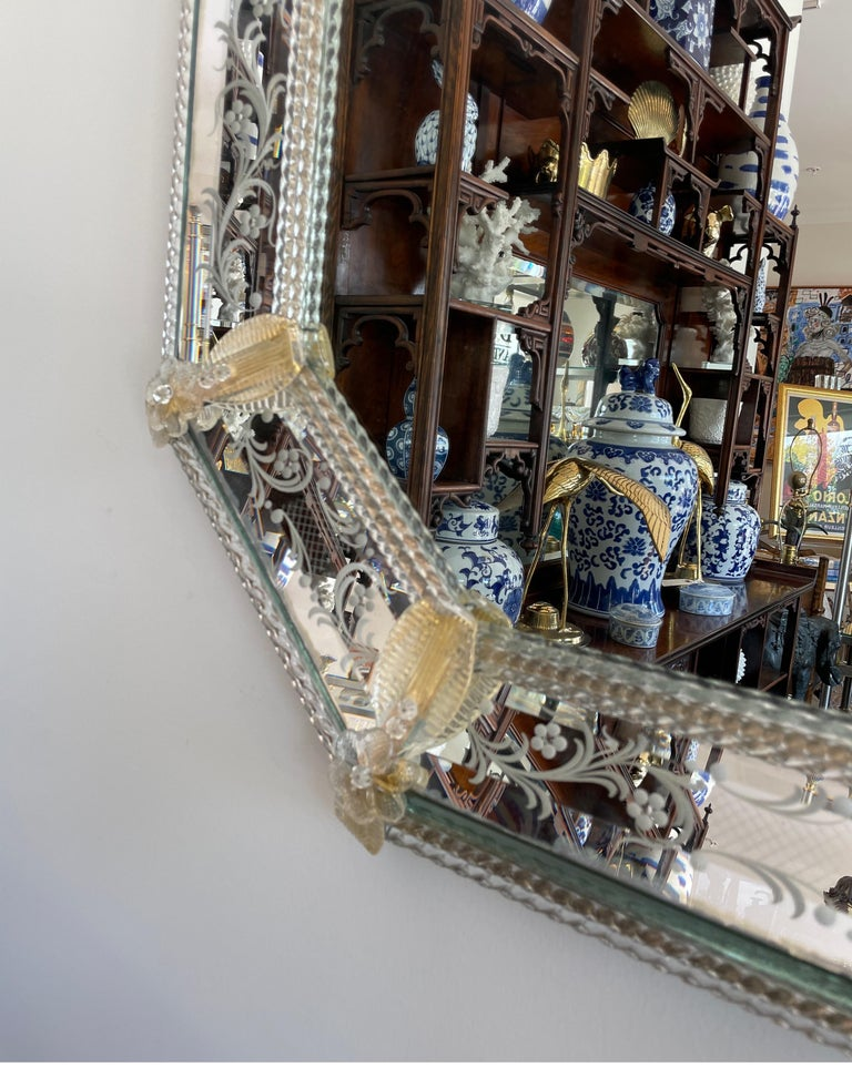Pair of Venetian Murano Octagon Mirrors In Good Condition For Sale In West Palm Beach, FL