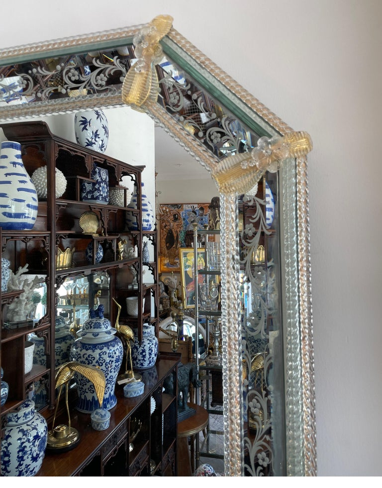 20th Century Pair of Venetian Murano Octagon Mirrors For Sale