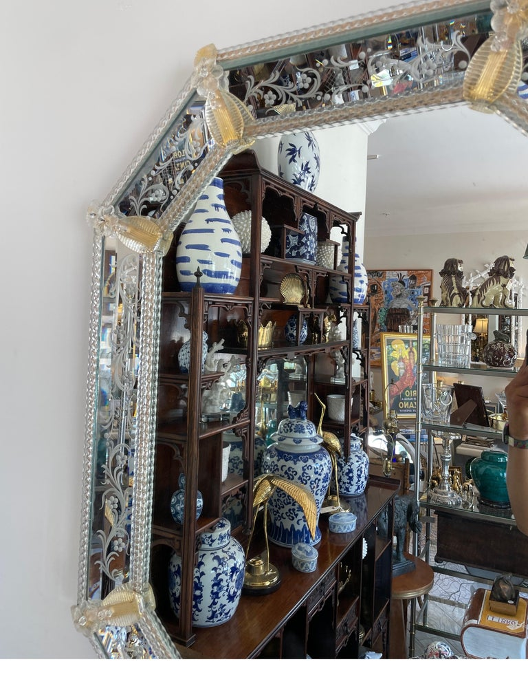 Pair of Venetian Murano Octagon Mirrors For Sale 1