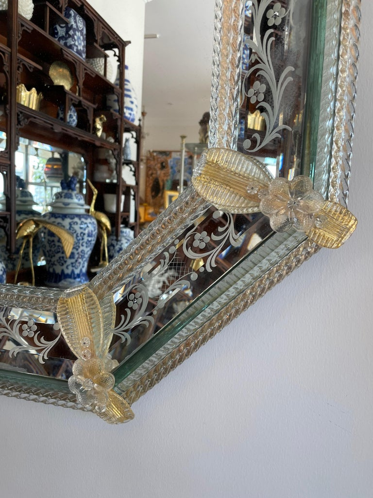 Pair of Venetian Murano Octagon Mirrors For Sale 2