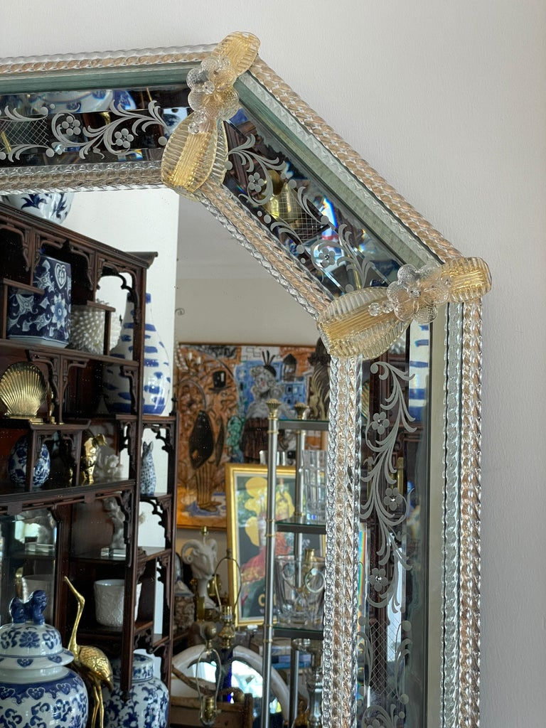 Pair of Venetian Murano Octagon Mirrors For Sale 4
