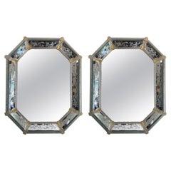 Pair of Venetian Murano Octagon Mirrors
