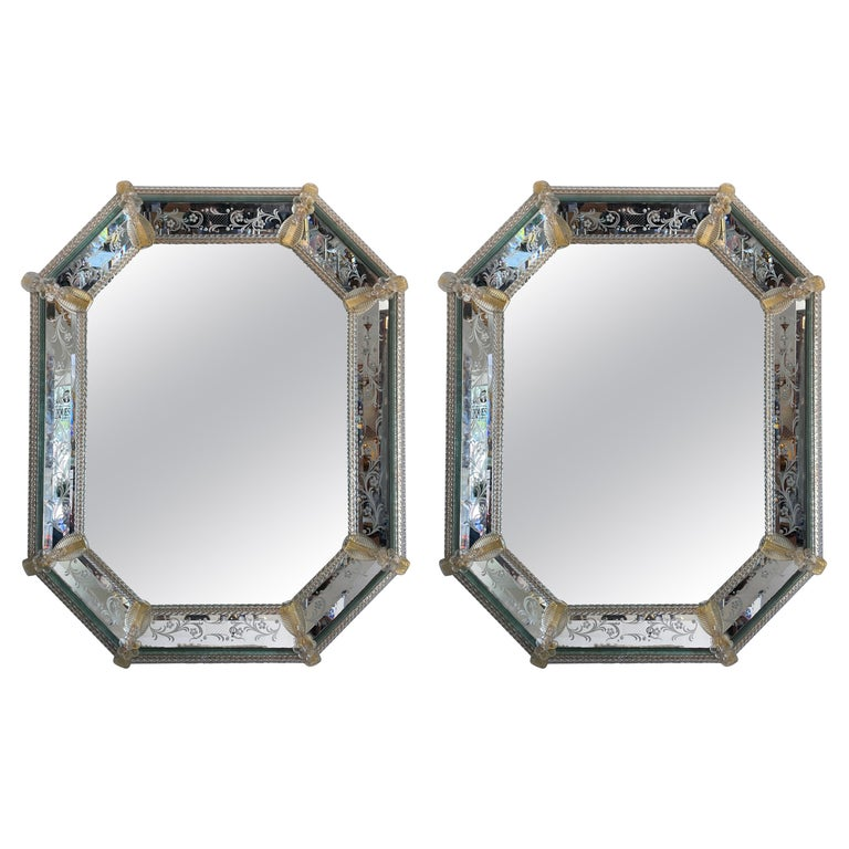 Pair of Venetian Murano Octagon Mirrors For Sale