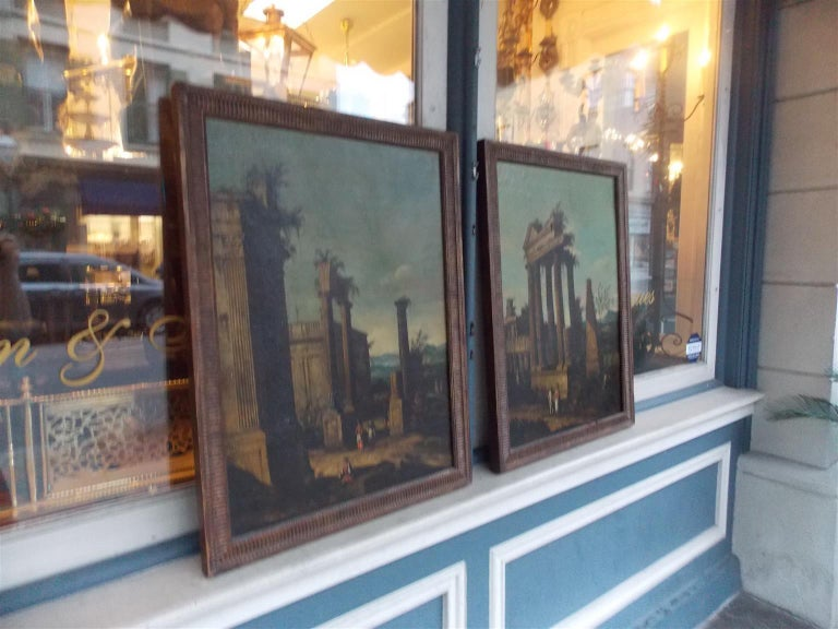 Neoclassical Pair of Venetian Oil on Canvas Paintings in Original Gilt Frames, Circa 1820 For Sale