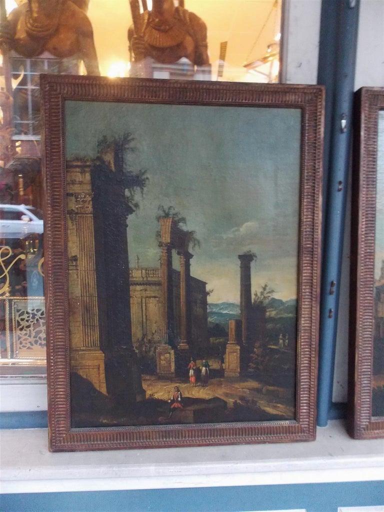 Italian Pair of Venetian Oil on Canvas Paintings in Original Gilt Frames, Circa 1820 For Sale