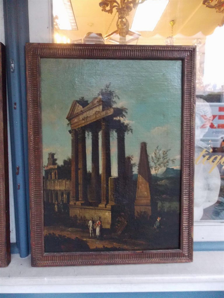 Hand-Carved Pair of Venetian Oil on Canvas Paintings in Original Gilt Frames, Circa 1820 For Sale