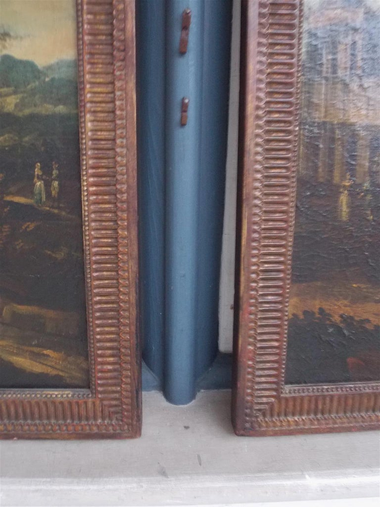 Early 19th Century Pair of Venetian Oil on Canvas Paintings in Original Gilt Frames, Circa 1820 For Sale