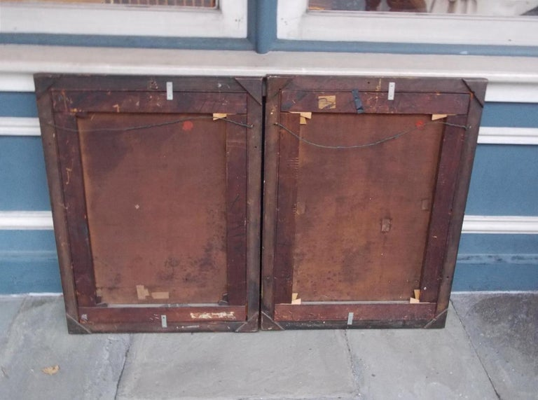 Pair of Venetian Oil on Canvas Paintings in Original Gilt Frames, Circa 1820 For Sale 1