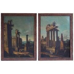 Pair of Venetian Oil on Canvas Paintings in Original Gilt Frames, Circa 1820