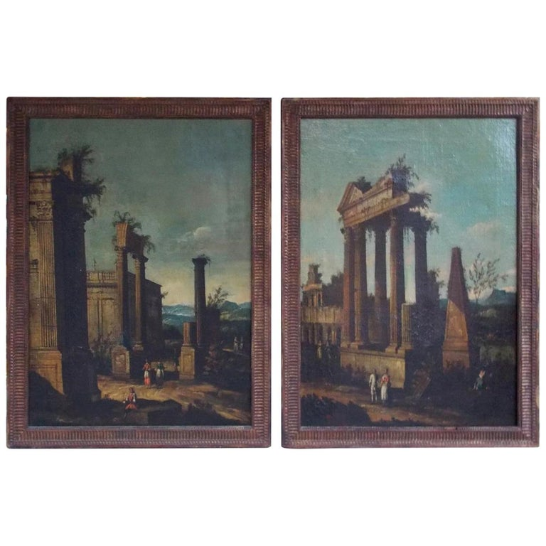 Pair of Venetian Oil on Canvas Paintings in Original Gilt Frames, Circa 1820 For Sale