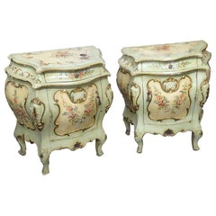 Pair of Venetian Paint Decorated Nightstands Night Tables