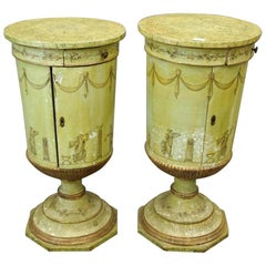 Pair of Venetian Paint Urn Form Bedside or End Cabinets