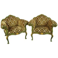 Pair of Venetian Painted and Carved Wooden Armchairs, circa 1900