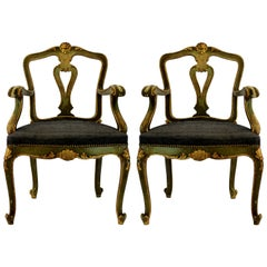 Pair of Venetian Painted and Gilded Armchairs