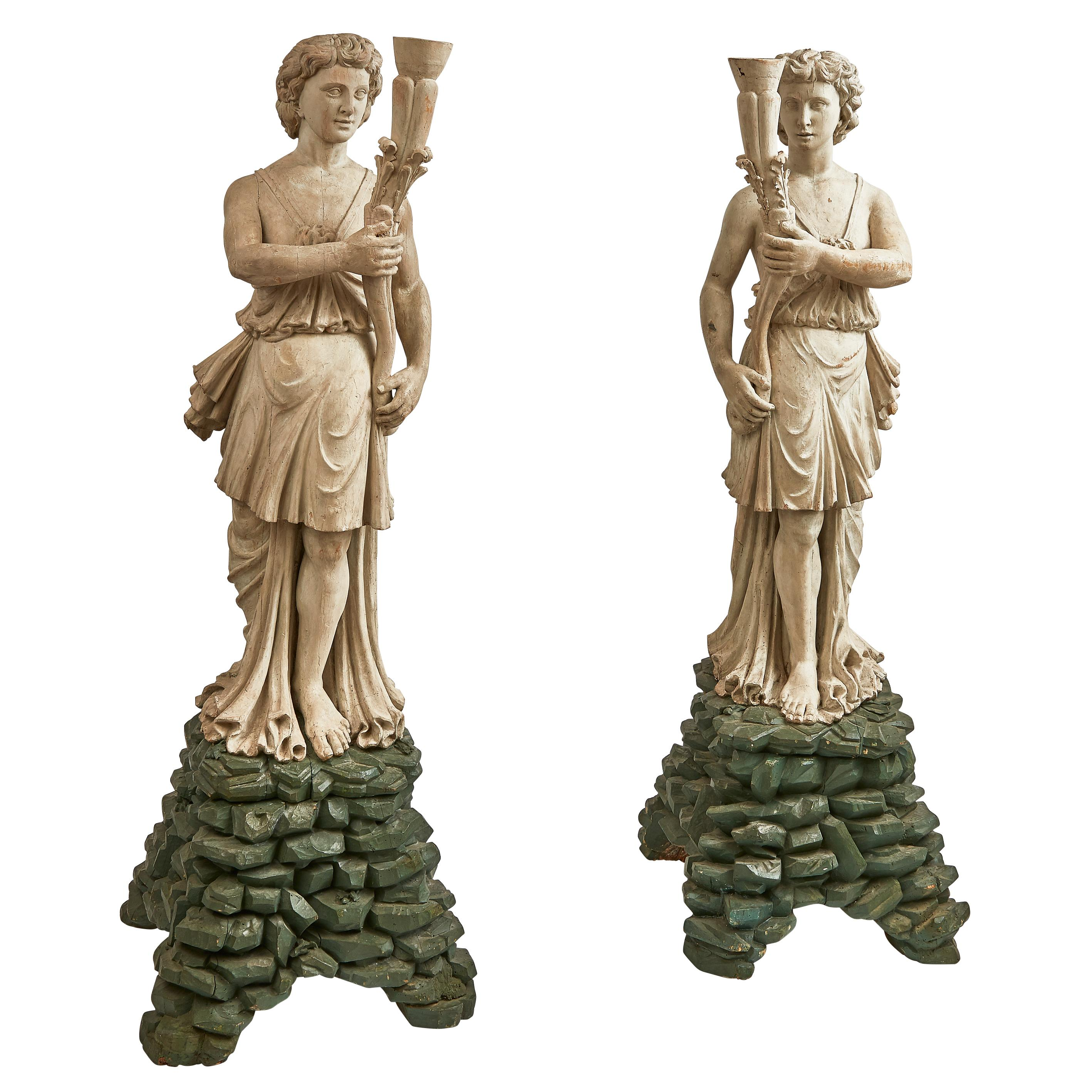 Pair of Venetian Painted Carved Wood Torchere Figures, circa 1790