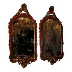 Pair of Venetian Painted & Gilt Floral Crest Girandole Mirrors. Circa 1780