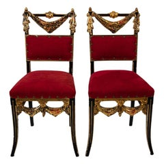 Pair of Venetian Polychrome Side Chairs