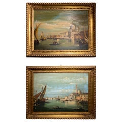 Pair of Venetian Scene Oil on Canvas Painting in Giltwood Frames