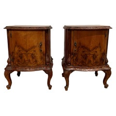 Pair of Venetian Side Cabinets in Figured Walnut Hand Carved Moldings circa 1920