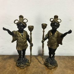 Pair of Venetian Style Bronze Figures of Blackamoor Candlesticks