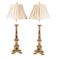 Pair of Venetian Style Carved and Gilt Candle Stands Mounted as Lamps
