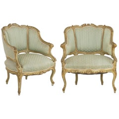 Pair of Venetian Style Carved and Painted Antique Armchairs