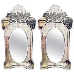 Pair of Venetian Style Glass Wall Console Mirrors, Etched