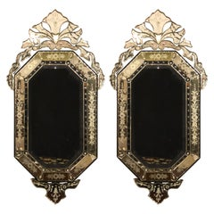 Pair of Venetian Style Glass Wall Console Mirrors