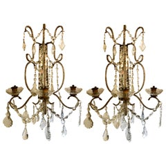 Pair of Venetian Three-Arm Mirror Back Wall Sconces