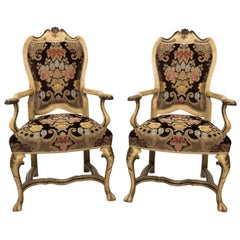 Pair of Venetian Upholstered Armchairs, circa 1980s