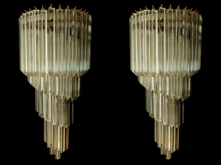 Pair of Venetian Wall Sconces, Murano, 1980s In Excellent Condition For Sale In Budapest, HU