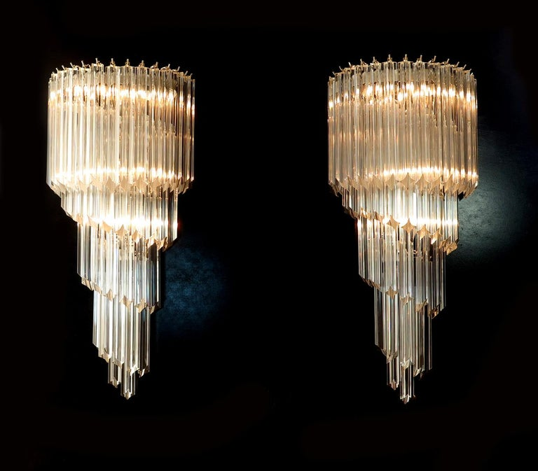 Pair of Venetian Wall Sconces, Murano, 1980s For Sale 1