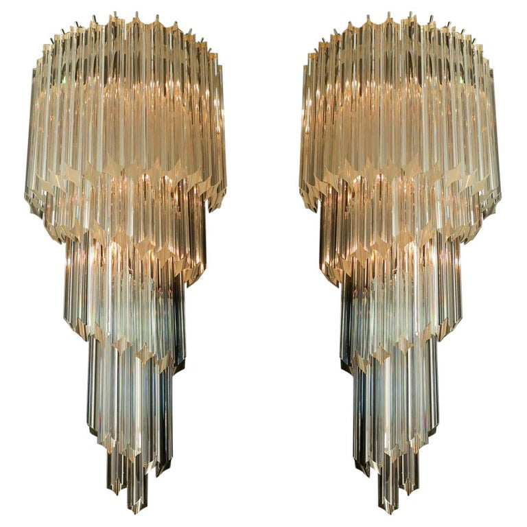 Pair of Venetian Wall Sconces, Murano, 1980s For Sale