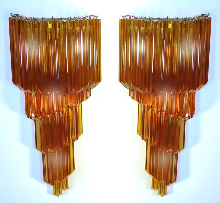 20th Century Pair of Venetian Wall Sconces, Murano, 1980s For Sale