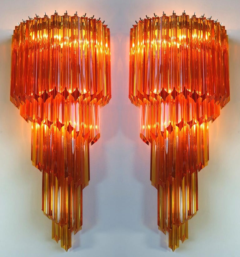 Metal Pair of Venetian Wall Sconces, Murano, 1980s For Sale