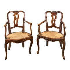 Pair of Venetian Walnut Armchairs, Venice 18th Century Carved Wood