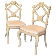 Pair of Venetian Wooden Rope & Tied Knot Accent Side Chairs
