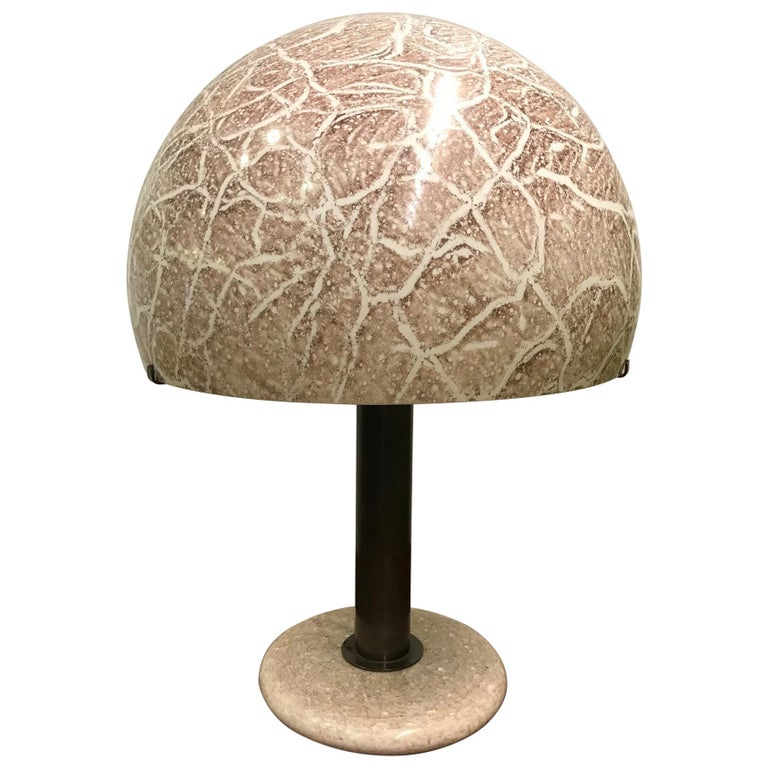 Pair of Venini glass Mushroom lamps. Glass shade and base with bronzed metal stem.