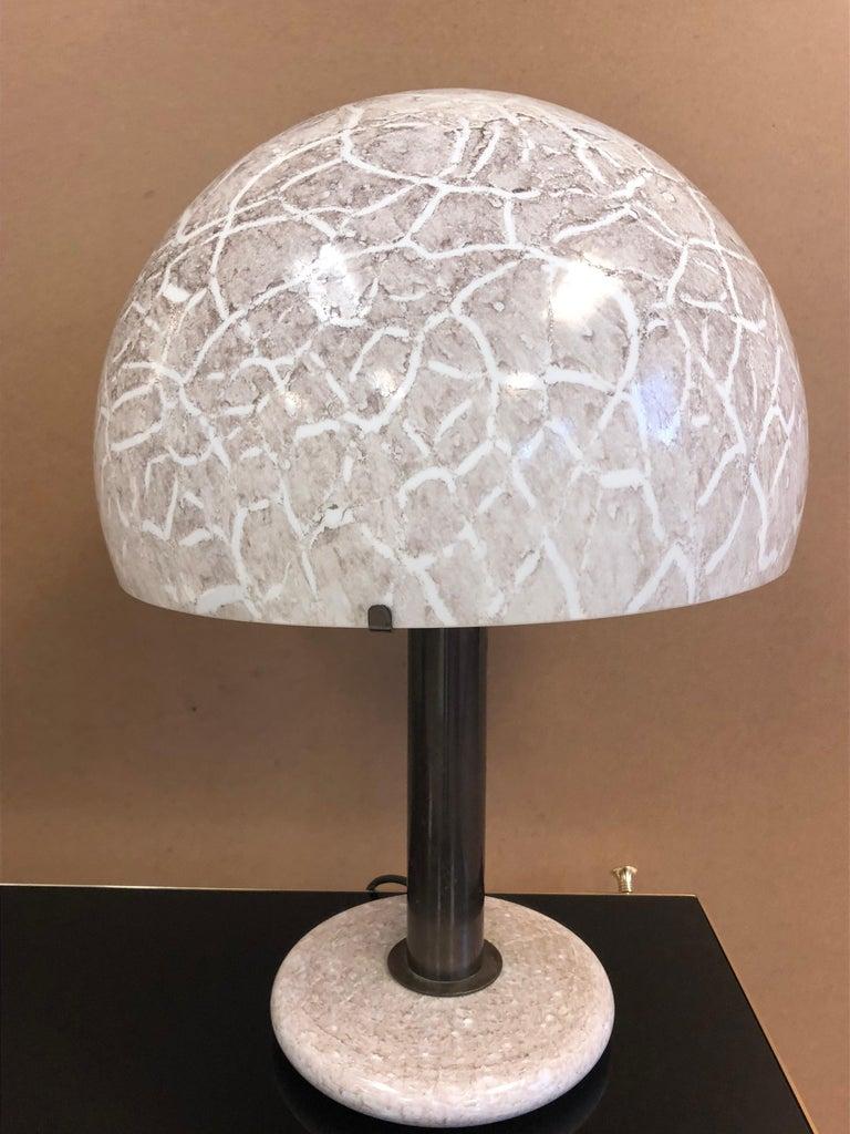 Italian Pair of Venini Glass Mushroom Lamps For Sale