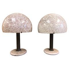 Pair of Venini Glass Mushroom Lamps