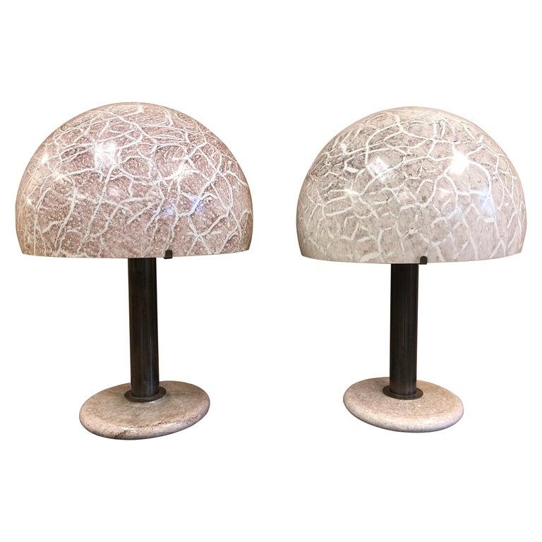 Pair of Venini Glass Mushroom Lamps For Sale
