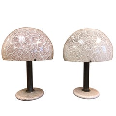 Pair of Venini Glass Mushroom Lamps