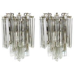 Pair of Venini Italian Triedi Glass Wall Sconces