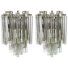 Pair of Venini Italian Triedri Glass Wall Sconces