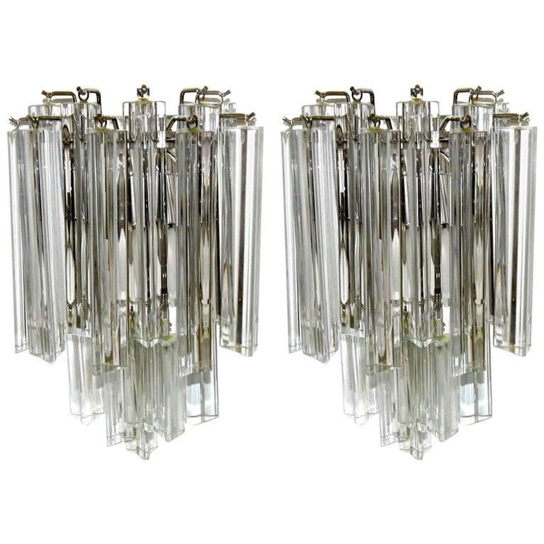 Pair of Venini Italian Triedri Glass Wall Sconces For Sale