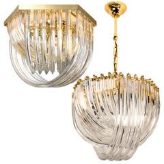 Pair of Venini Light Fixtures, Curved Crystal Glass and Gilt Brass, Italy