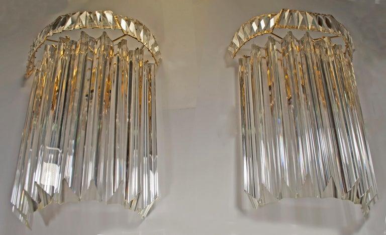 Pair of Venini Midcentury Brass and Murano Glass