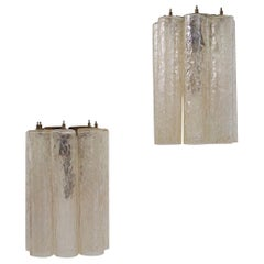 Pair of Venini Murano Glass Tubular Wall Scones